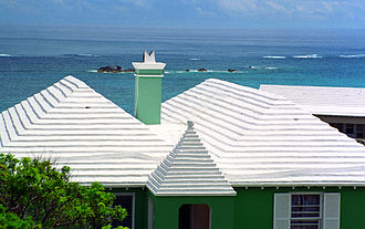 Architecture of Bermuda - A typical residence, emphasis on the stepped Bermudian roof, used for rainwater collection