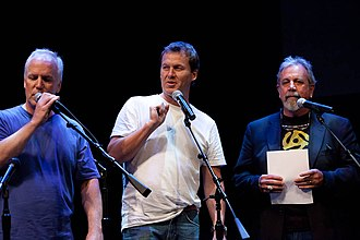 Kevin Murphy (actor) - Murphy (right) with Bill Corbett and Michael J. Nelson performing at w00tstock in 2011