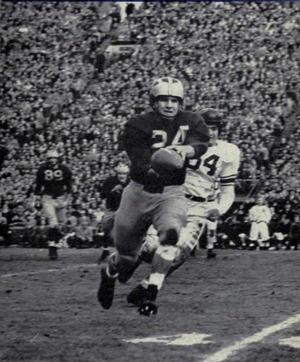 Punt (gridiron football) - Bill Putich punting on the run.
