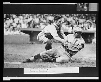 Muddy Ruel - Muddy Ruel tags out Bing Miller of the Philadelphia Athletics during a 1925 game.