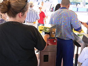Biometrics - At Walt Disney World in Lake Buena Vista, Florida, biometric measurements are taken from the fingers of guests to ensure that a ticket is used by the same person from day to day