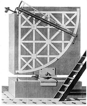 Mural instrument -  A Bird Mural Quadrant was for many years the main instrument of the Mannheim Observatory, shown here installed