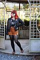 Black Faux Leather Jacket, Brown Corduroy Shorts, Floral Top, and Brown Flats (22658676769).jpg