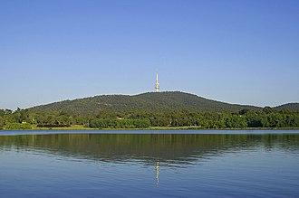Black Mountain (Australian Capital Territory) - Black Mountain and Black Mountain Tower as seen from across Lake Burley Griffin.