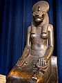 Black granite statue of the Goddess Sekhmet excavated in Thebes in the Ramesseum 1405-1367 BCE (Late 18th Dynasty) Egypt Penn Museum 02.jpg