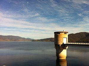 Blowering Dam - Image: Blowering Reservoir from Blowering Dam