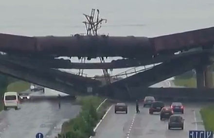Destroyed railway flyover, 25 July 2014 Blown up railway bridge in Donbass.jpg