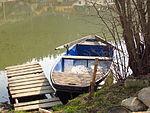 Boat at Dolní pond in Pokojovice, Třebíč District.JPG