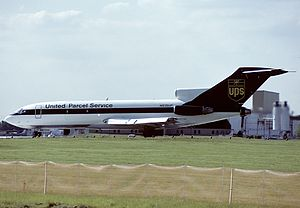 UPS Airlines - A UPS Boeing 727-100 in Louisville, Kentucky in the 1988–2003 livery
