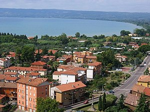 Bolsena - View of the city with the lake.