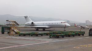 Bombardier BD-700 Global Express VP-BDU and ROC AVIATION B-68801 at Songshan Airport Apron 20120324.jpg
