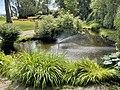 Borgheim, Nøtterøy, Norway. Minneparken anlagt 1950. WW2 Memorial statue by Carl E. Paulsen Fylkesvei 308 Hvalformet dam (pond) sprigvann fontene (fountain) summer etc 2021-07-06 IMG 7840.jpg
