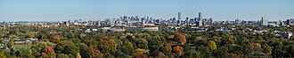 Mount Auburn Cemetery - Image: Boston skyline from Mount Auburn October 2014 panorama