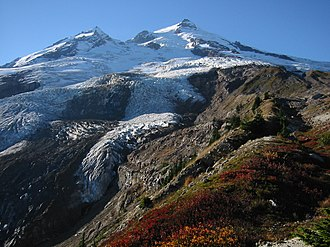 Geography of the North Cascades - Mount Baker with Boulder Glacier in foreground.