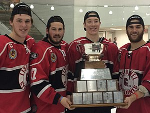 Listowel Cyclones - Cyclones forwards Blake Nichol, Jamie Huber, Cullen Mercer and Ben Van Ootegham with the Cherrey Cup