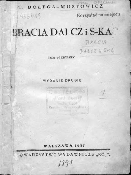 File:Bracia Dalcz i S-ka t. 1 (Tadeusz Dołęga-Mostowicz).djvu