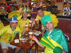 Association football culture - Brazilian supporters in Berlin drinking beer
