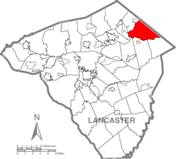 Map of Lancaster County highlighting Brecknock Township