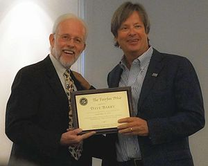 Dave Barry - Brian Engler, Chair of the Fairfax Library Foundation, presents the 2013 Fairfax Prize to Dave Barry on September 22, 2013.