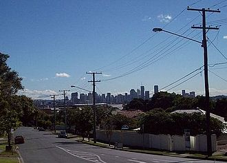 Coorparoo, Queensland - Brisbane Central Business District viewed from Upper Cornwall Street, Coorparoo.