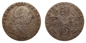 Sixpence (British coin) - Obverse and reverse of the 1787 sixpence, depicting George III.