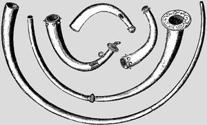Dord (instrument) - Image: Bronzeageirishhorns