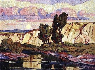 Birger Sandzén - Creek at Moonrise  (ca. 1921)
