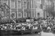 President Brooks' inauguration took place in front of Evans Hall in 1912.