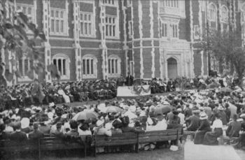 President Brook's inauguration in 1912 in front of Evans Hall.