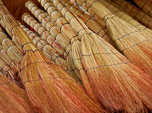 Brooms for sale in a Tbilisi market.