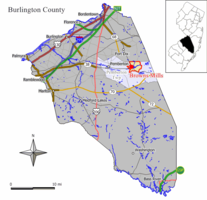 Map of Browns Mills CDP in Burlington County. Inset: Location of Burlington County in New Jersey.
