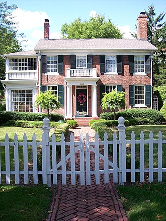 Grosse Pointe Park, Michigan - The Buck-Wardwell House on Jefferson Avenue, built in 1840, as the first brick house in Grosse Pointe