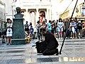 Bucuresti, Romania. Teatrul ODEON si statuia lui Mustafa Kemal Atatürk. B-FIT IN THE STREET 2018. Inainte de inceperea spectacolului. Artistul Juriy Longhi. (B-II-m-B-19854).jpg