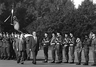 Rapid Action Force (France) - The President François Mitterrand and Chancellor Helmut Kohl passing review of the troops of the Force d'action rapide stationed at Bade-Wurtember, on September 24, 1987 during a Franco-German manoeuver.