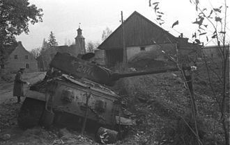 2nd Guards Tank Corps - A destroyed T-34/85 of the corps' 25th Guards Tank Brigade at Nemmersdorf, October 1944