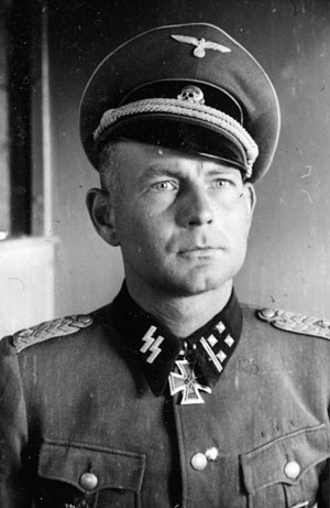 7th SS Volunteer Mountain Division Prinz Eugen - Otto Kumm as an SS-Obersturmbannführer (lieutenant colonel) in March 1943. Kumm commanded the 7th SS through some of its hardest fighting in 1944, and ended the war with the Knight's Cross of the Iron Cross with Oak Leaves and Swords.