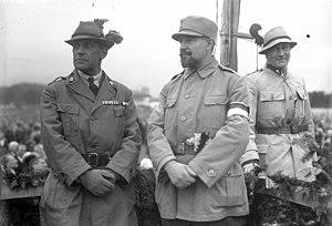 Heimwehr - Heimwehr leader Richard Steidle (centre), Baron Hans von Pranckh (right) and Baron von Bachofen-Echt (left), September 1930