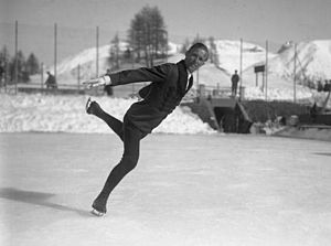 1938 in Sweden - Gillis Grafström won Olympic gold medals in figure skating in 1920, 1924 and 1928, and became world champion in 1922, 1924 and 1929.