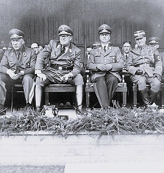 German occupation of the Baltic states during World War II - General Commissioner of Latvia Otto-Heinrich Drechsler, Reich Commissar for the Ostland Hinrich Lohse, Reich Minister for the Occupied Eastern Territories Alfred Rosenberg and SS Officer Eberhard Medem in 1942.