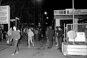 Checkpoint Charlie on the night of 9/10 November 1989