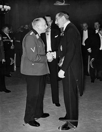 Charles Edward, Duke of Saxe-Coburg and Gotha - Charles Edward (left) meeting the British Ambassador to Germany, Sir Neville Henderson, in 1939. He had been at Eton with Henderson and this photograph may have been taken at a meeting of the Anglo-German Fellowship that Henderson addressed in May 1937, shortly after his appointment as British Ambassador.