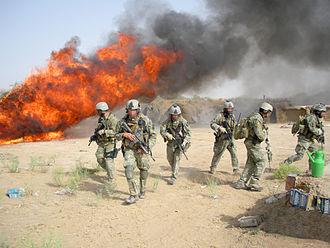 Drug Enforcement Administration - DEA agents burning hashish seized in Operation Albatross in Afghanistan, 2008.