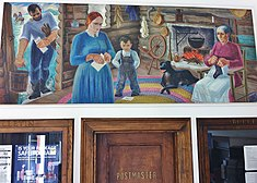 "Bushnell, Il Post Office mural, ""Pioneer Home in Bushnell"" by Reva Jackman.JPG"