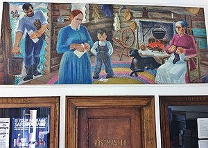 """Bushnell, Illinois - An oil on canvas mural, """"Pioneer Home in Bushnell"""" by Reva Jackman is on display in the Bushnell Post Office"""