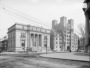 Silliman College - Byers Hall and Vanderbilt Hall, then part of the Sheffield Scientific School, now Silliman's main facade.