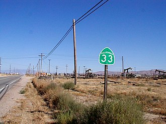 California State Route 33 - SR 33 heading south through Kern County.