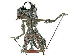COLLECTIE TROPENMUSEUM Wajangfiguur van perkament voorstellende Indrajit TMnr 8-302