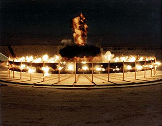 Continuous-rod warhead - Arena firing of continuous-rod warhead, 1972 at Naval Air Weapons Station China Lake.