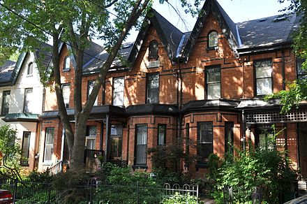 Victorian-era Bay-and-gable houses are a distinct architectural style of residence that is ubiquitous throughout the older neighbourhoods of Toronto. Cabbagetown houses.jpg