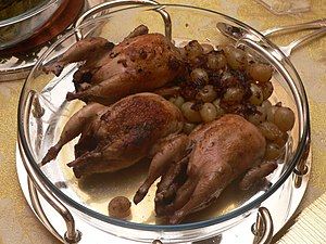 Flambé - Roasted quails flambéed with Cognac